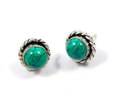 Turquoise .925 Silver Plated Handmade Stud Earring Jewelry JC8169
