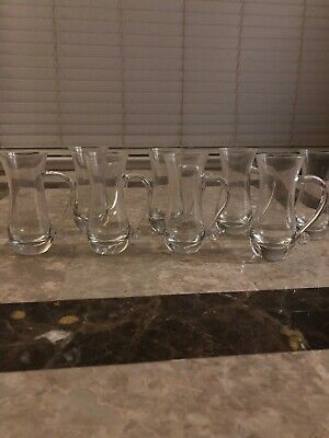 Shot Glass / Cordial Glasses Set Of 8 With Finger Handles Excellent Condition!