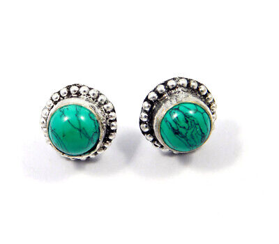 Turquoise .925 Silver Plated Handmade Stud Earring Jewelry JC8118