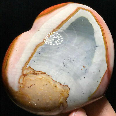 Top NATURAL POLISHED POLYCHROME JASPER HEART From Madagascar 154g 74mm A7563