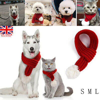 Christmas Knitted Dog Scarf Collar Winter Cats Dog Scarfs for Small Large Dogs