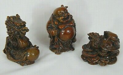 Feng Shui Oriental Resin Carvings 3 Piece Set Happy Buddah Turtle & Chi Dragon