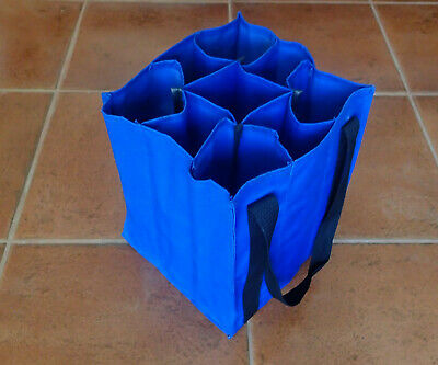 REUSABLE WINE TOTE BAG for 9 bottles Blue THICK DURABLE SHOPPING CARRIER