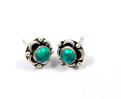 Turquoise .925 Silver Plated Handmade Stud Earring Jewelry JC8148