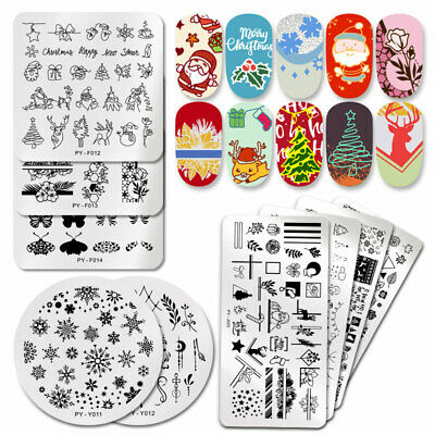 PICT YOU Nail Stamping Plates Christmas Snowflake Nail Art Image Templates Tips