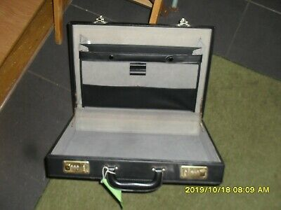 BLACK LEATHER MENS BRIEFCASE with combi locks VGC
