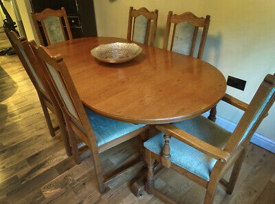 Beautiful Medium Oak Old Charm Extending Dining Table and 6 Chairs