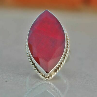 Natural Marquise Ruby Gemstone 925 Sterling Silver Handmade Large Gift Ring