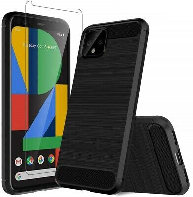 For Google Pixel 4 Case Carbon Fibre Cover & Glass Screen Protector