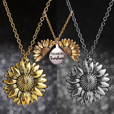 2019 Necklace You Are My Sunshine Open Locket Sunflower Pendant Jewelry Gifts