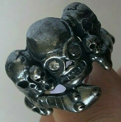 Antique Georgian Victorian Memento Mori Skull Solid Silver Ring White Zircon