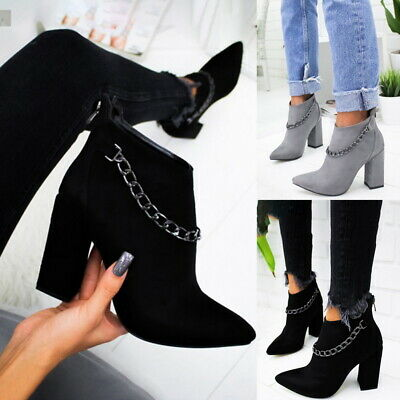 Women Ladies Boots Ankle High-heeled Shoes Solid color with Chain Short Boots