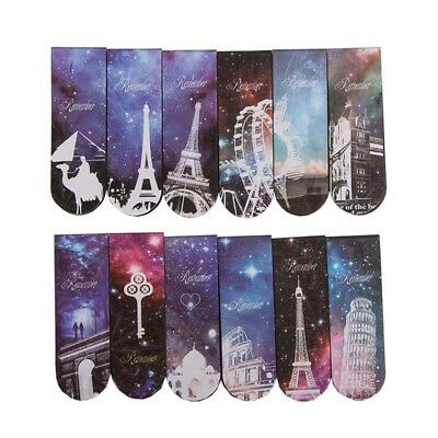 6pcs Starry Sky Paper Bookmarks Magnetic Book Marks Supplies Stationery Fine@97k
