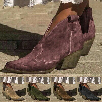 Women Ladies Autumn Boots Ankle Boots Shoes Slip On Pointed Toe Short Booties
