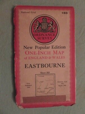 """Antique O/S 1""""/mile A+ map Great Britain EASTBOURNE (1940) sheet 183"""