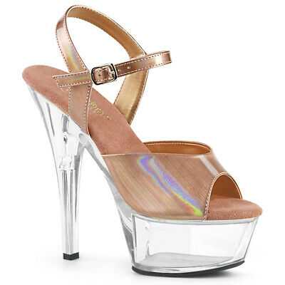 KISS-209BHG NEW stripper Heels Hologram Shoes 6 Inch Sandals Ankle Straps Size 3