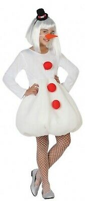 Girls White Winter Snowman Christmas Festive Xmas Fancy Dress Costume 10-12Yrs