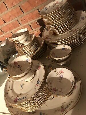 63 Pieces Of Castleton Sunnyvale China. Platter, Plates, Saucers, Bowls, Cups.
