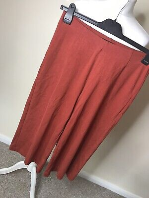 Next 💕12 Bnwt Burnt Orange Culottes Cropped Mid Length Stretchy Trousers