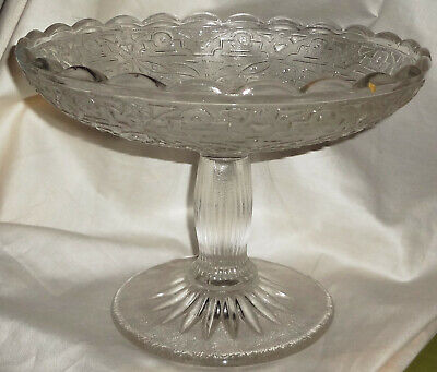 VRare! MYSTERY PATTERN - EAPG - Large  EAPG GLASS OPEN COMPOTE - REMARKABLE FIND