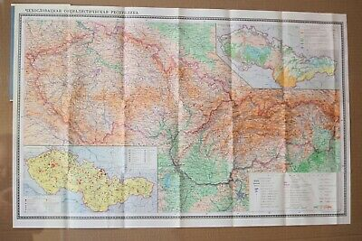 Vintage Original Folding Paper Map of Czechoslovakia 1972 Old Geography Map