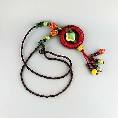 Collect China Culture Porcelain Glaze Carve Delicate Noble Girl Decor Necklace