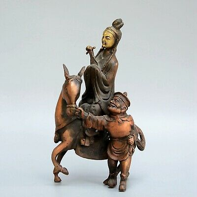 Collect China Old Red Copper Hand-Carved Fairy Ride Horse & Boy Delicate Statue