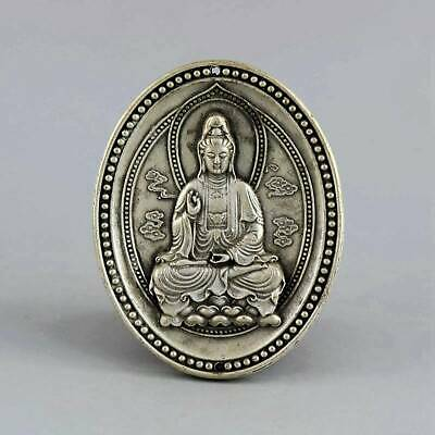 Collect China Antique Tibet Silver Hand-Carved Kwan-Yin Exorcism Amulet Pendant