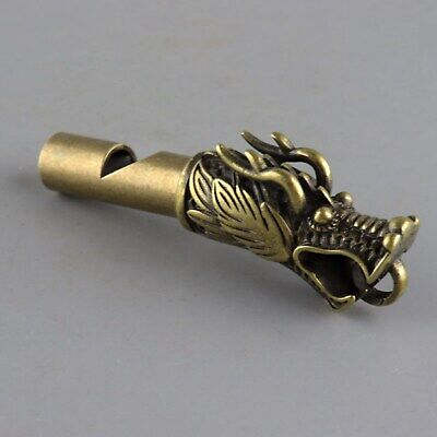 Collect China Old Copper Hand-Carved Myth Animal Dragon Whistle Unique Pendant