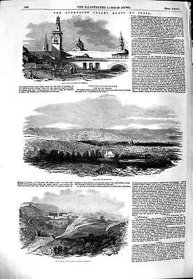 Original Old Antique Print 1851 Euphrates India Orsova Bussorah Constantinople