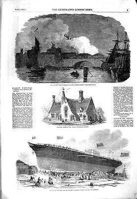 Original Old Antique Print 1851 Fire Montague-Close London Bridge Amazon Ship