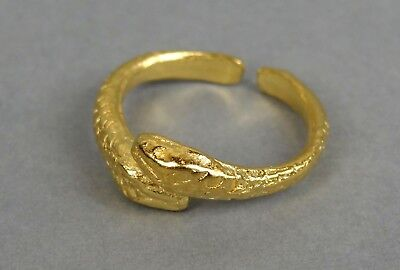 Roman Snake Ring in 22kt Gold on Fine Pewter