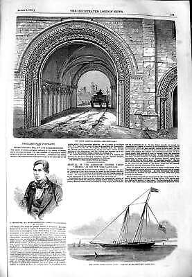 Old Antique Print 1851 Abbey Gateway Bristol Collins America Clipper Boat 19th