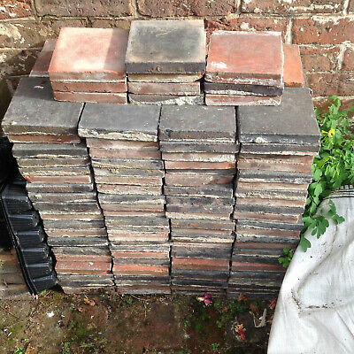 "Reclaimed VICTORIAN TERRACOTTA 6""X 6"" FLOOR TILES (CIRCA 1880)"