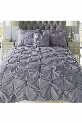 Pintuck Pleated Duvet Cover set with PillowcaseS  DOUBLE  bnwt silver grey
