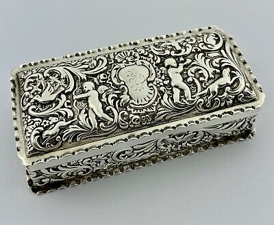 Antique Victorian Solid Sterling Silver Trinket Jewellery Box - London 1895