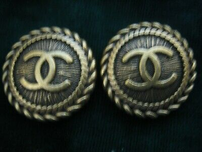 CHANEL BUTTONS lot of 2 brass bronze  18 mm , 3/4 inch metal with  cc logo