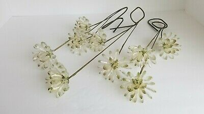 Lot of 9 Vintage Clear Lucite Acrylic Flower on Bendy Stems  Bunch Mid Century