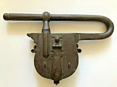 Large Antique Forged Iron Metal Castle Front Door Latch Lock Hardware Signed