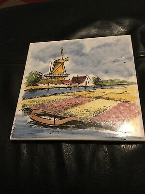Antique Vintage Delft Tile Depicting A Windmill