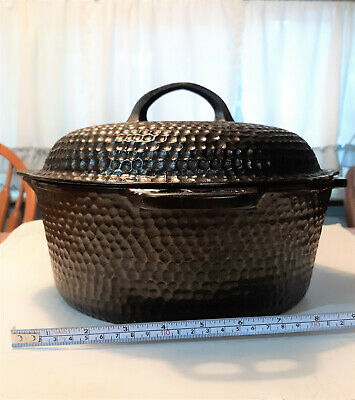 Vintage Hammered # 88 Cast Iron Dutch Oven with Drip Lid Cleaned & Seasoned