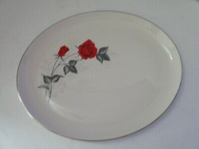 RARE Taylor Smith & Taylor Moulin Rouge Red Rose Versatile Oval Platter