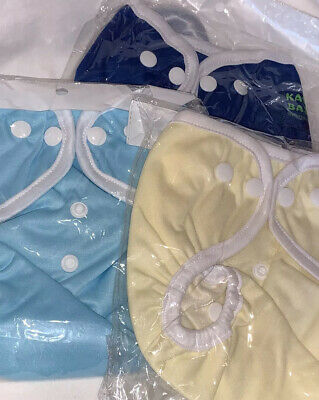Kawaii Baby Diaper Covers OS One Size Lot of 3 Light Blue Royal Yellow Snaps