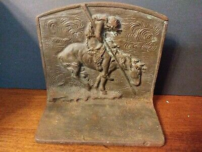 Antique Cast Iron Bronzed book end with Horse & Indian