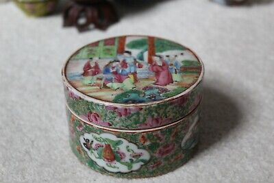19th century antique Chinese Qing dynasty Xianfeng Canton Famille rose box