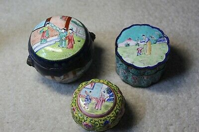 18/19th century antique Chinese Qing dynasty bronze painted enamel boxes