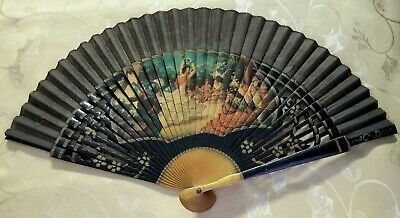 Vintage Traditional Asian Folding Hand Fan Wood Bamboo