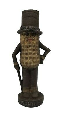 Planters Mr. Peanut Cast Iron Bank With Painted Rusted Antique Finish