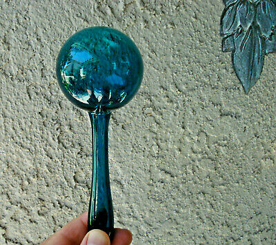 """Antique, end of day, hand blown,""""brilliant teal"""" collectible glass sock darner"""