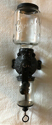 Vintage Antique Cast Iron Coffee Grinder Arcade Crystal #3 Wall Mount